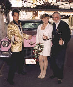 Las Vegas wedding � Elvis and bride & groom with the Pink Cadillac